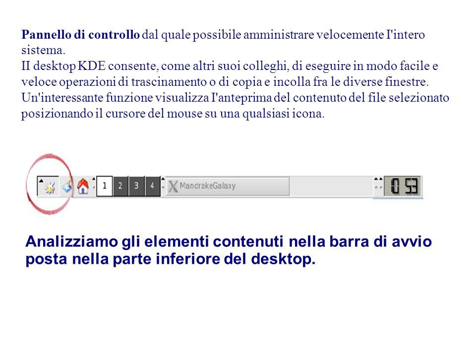 Analizziamo gli elementi contenuti nella barra di avvio posta nella parte inferiore del desktop.