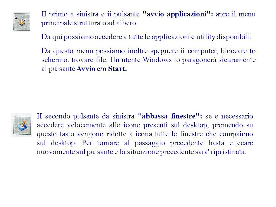 II primo a sinistra e ii pulsante avvio applicazioni : apre il menu principale strutturato ad albero.