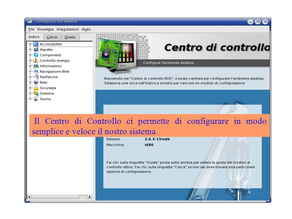 Il Centro di Controllo ci permette di configurare in modo semplice e veloce il nostro sistema.