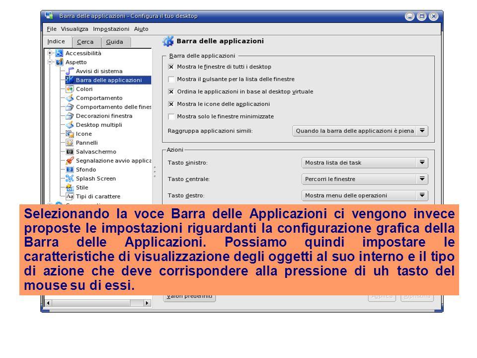 Selezionando la voce Barra delle Applicazioni ci vengono invece proposte le impostazioni riguardanti la configurazione grafica della Barra delle Applicazioni.