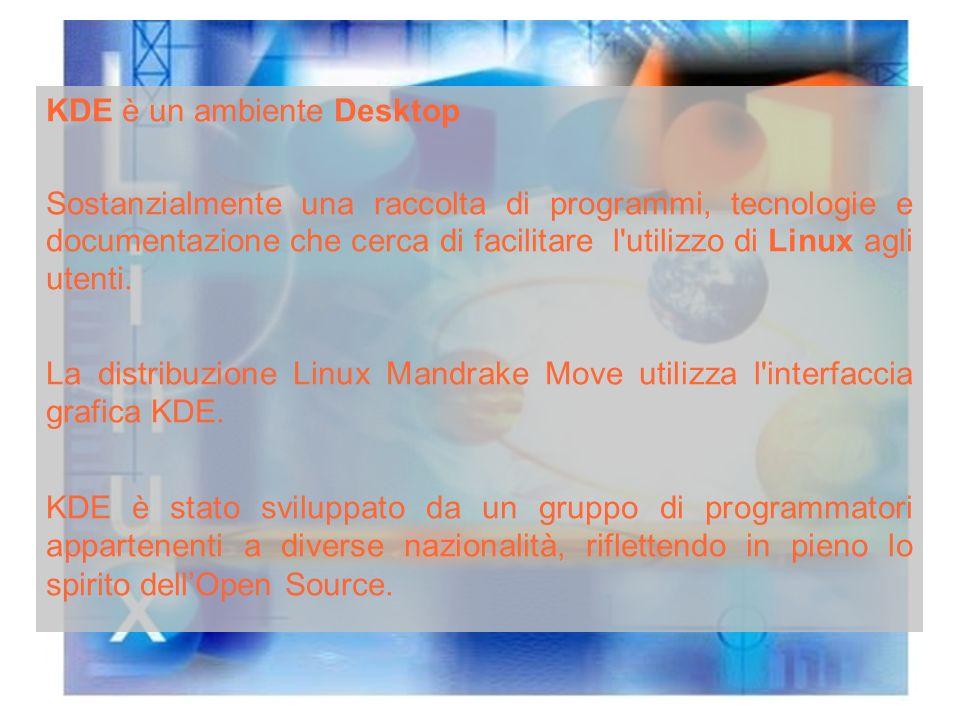 KDE è un ambiente Desktop Sostanzialmente una raccolta di programmi, tecnologie e documentazione che cerca di facilitare l utilizzo di Linux agli utenti.