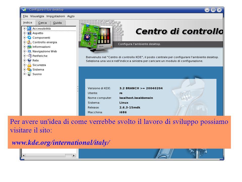 Per avere un idea di come verrebbe svolto il lavoro di sviluppo possiamo visitare il sito: www.kde.org/international/italy/
