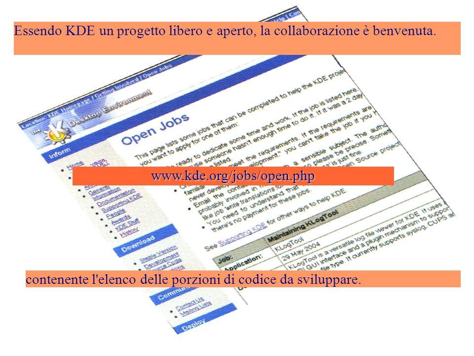 www.kde.org/jobs/open.php contenente l elenco delle porzioni di codice da sviluppare.