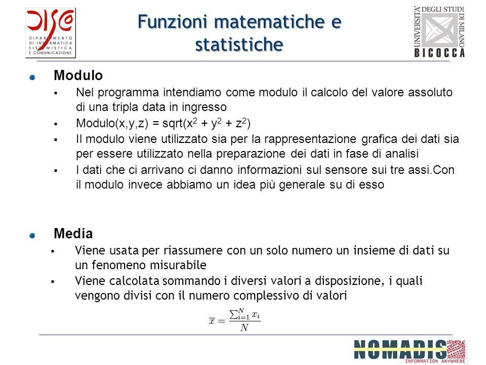 Funzioni matematiche e statistiche Modulo Nel programma intendiamo come modulo il calcolo del valore assoluto di una tripla data in ingresso Modulo(x,