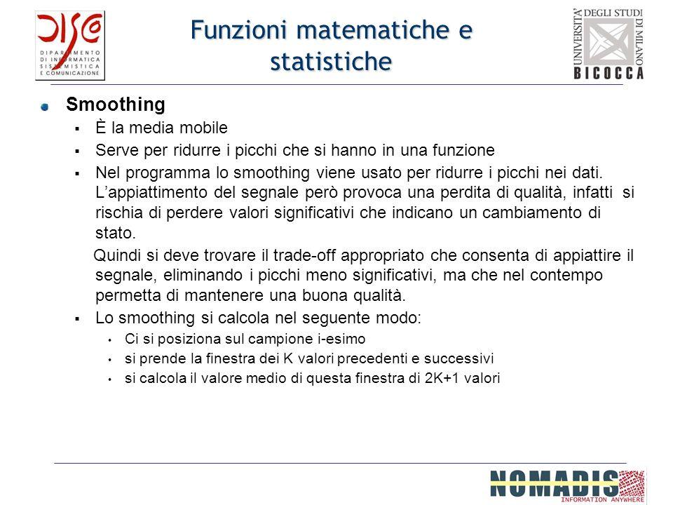 Funzioni matematiche e statistiche Smoothing È la media mobile Serve per ridurre i picchi che si hanno in una funzione Nel programma lo smoothing vien