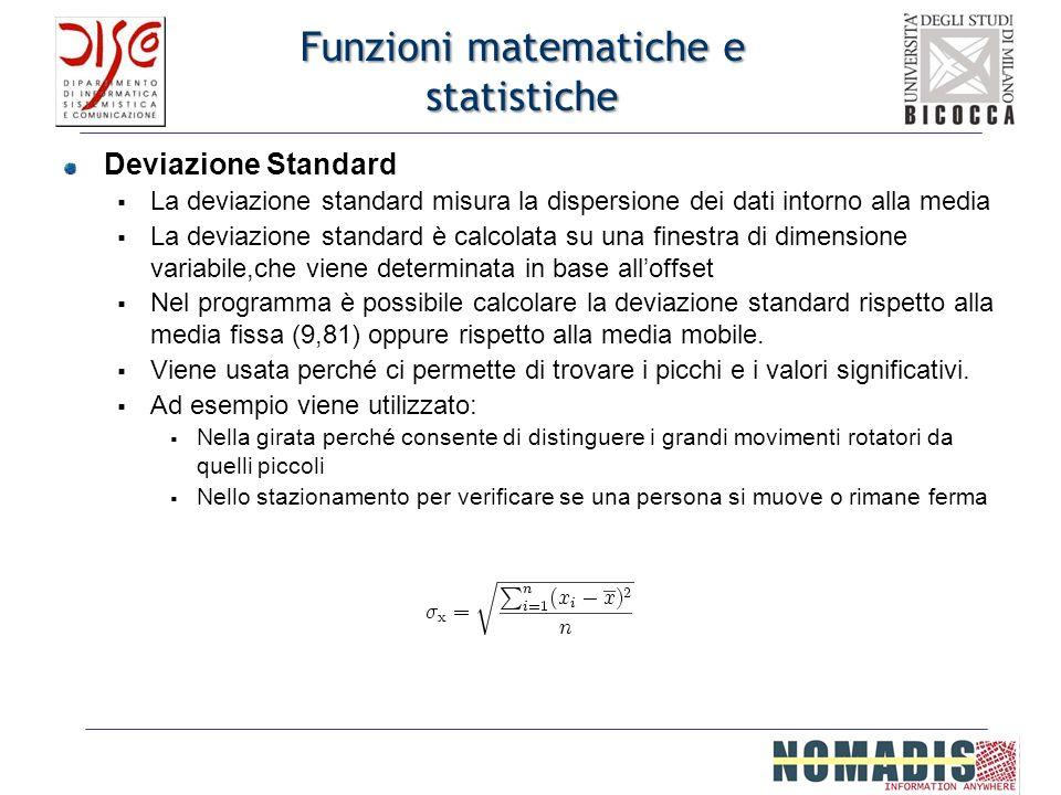 Funzioni matematiche e statistiche Deviazione Standard La deviazione standard misura la dispersione dei dati intorno alla media La deviazione standard