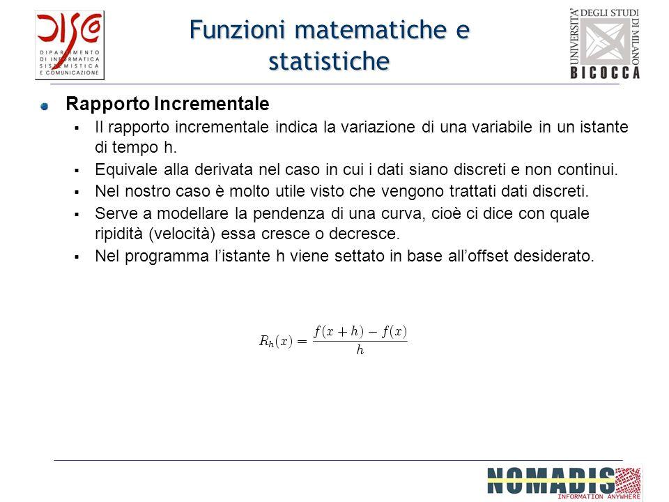 Funzioni matematiche e statistiche Rapporto Incrementale Il rapporto incrementale indica la variazione di una variabile in un istante di tempo h. Equi