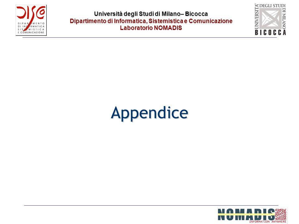 Università degli Studi di Milano– Bicocca Dipartimento di Informatica, Sistemistica e Comunicazione Laboratorio NOMADIS Appendice