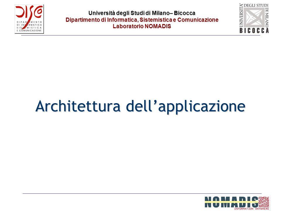 Università degli Studi di Milano– Bicocca Dipartimento di Informatica, Sistemistica e Comunicazione Laboratorio NOMADIS Architettura dellapplicazione