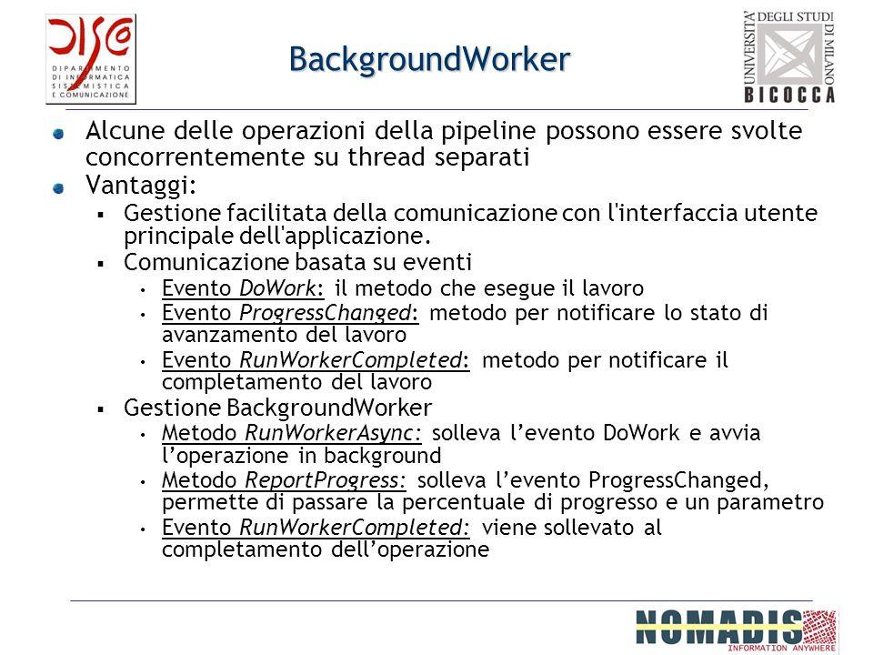 BackgroundWorker Alcune delle operazioni della pipeline possono essere svolte concorrentemente su thread separati Vantaggi: Gestione facilitata della