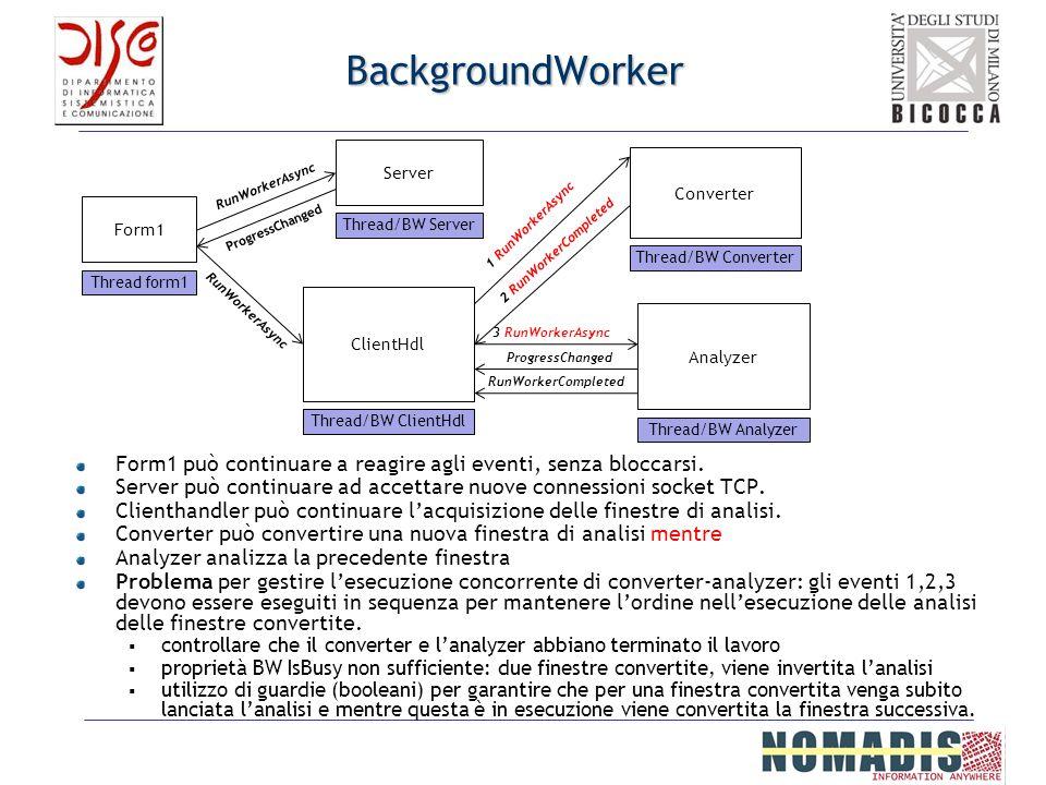 BackgroundWorker Form1 può continuare a reagire agli eventi, senza bloccarsi. Server può continuare ad accettare nuove connessioni socket TCP. Clienth
