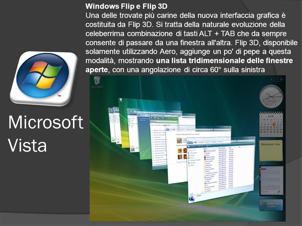 Microsoft Vista Windows Flip e Flip 3D Una delle trovate più carine della nuova interfaccia grafica è costituita da Flip 3D.