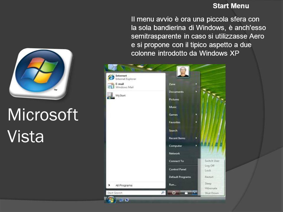 Microsoft Vista Start Menu Il menu avvio è ora una piccola sfera con la sola bandierina di Windows, è anch esso semitrasparente in caso si utilizzasse Aero e si propone con il tipico aspetto a due colonne introdotto da Windows XP
