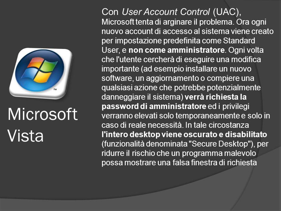 Microsoft Vista Con User Account Control (UAC), Microsoft tenta di arginare il problema.