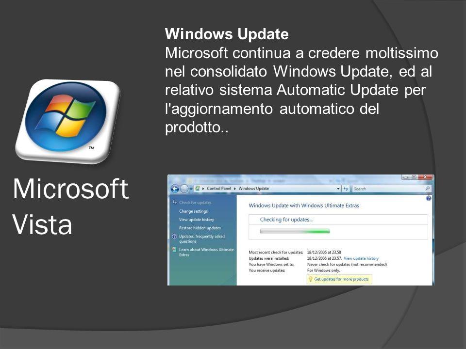Microsoft Vista Windows Update Microsoft continua a credere moltissimo nel consolidato Windows Update, ed al relativo sistema Automatic Update per l aggiornamento automatico del prodotto..