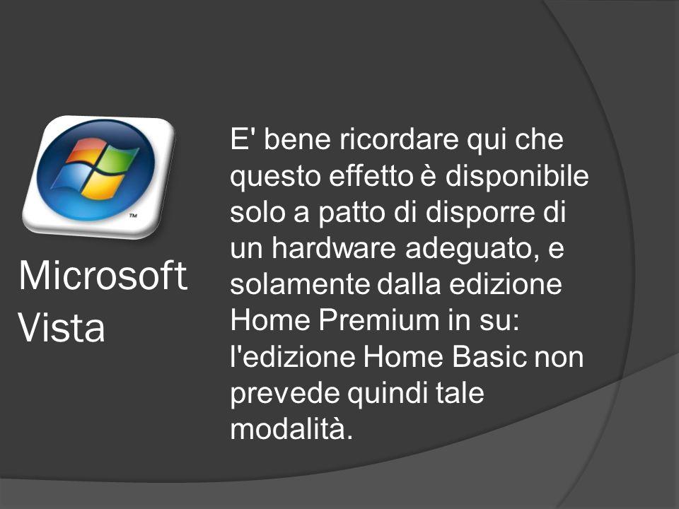 E bene ricordare qui che questo effetto è disponibile solo a patto di disporre di un hardware adeguato, e solamente dalla edizione Home Premium in su: l edizione Home Basic non prevede quindi tale modalità.