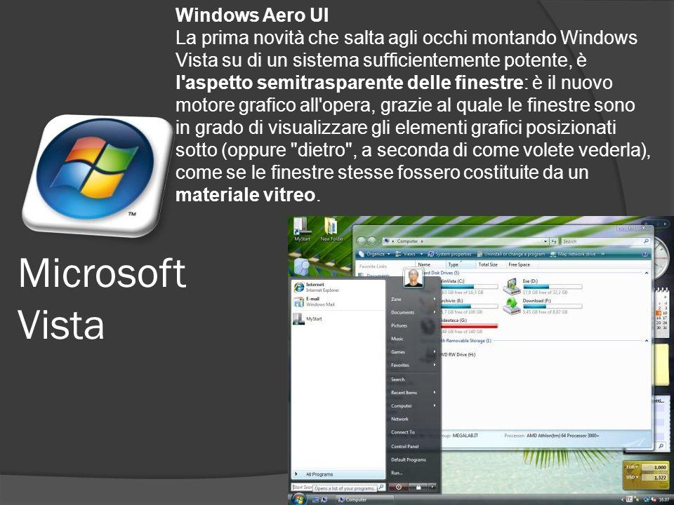 Microsoft Vista Windows Aero UI La prima novità che salta agli occhi montando Windows Vista su di un sistema sufficientemente potente, è l aspetto semitrasparente delle finestre: è il nuovo motore grafico all opera, grazie al quale le finestre sono in grado di visualizzare gli elementi grafici posizionati sotto (oppure dietro , a seconda di come volete vederla), come se le finestre stesse fossero costituite da un materiale vitreo.