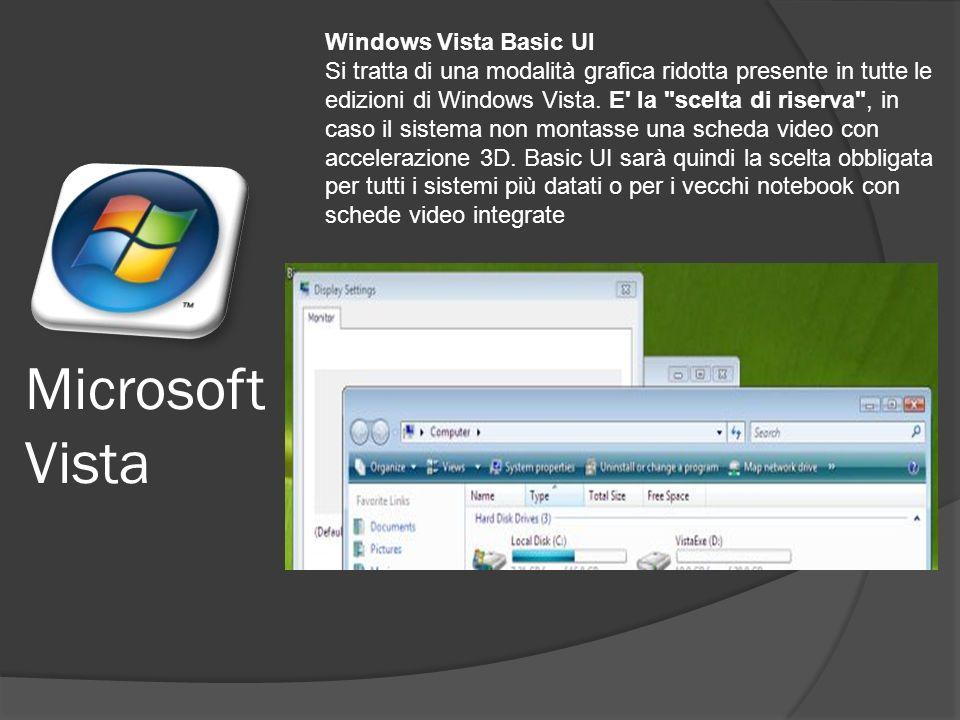 Windows Vista Basic UI Si tratta di una modalità grafica ridotta presente in tutte le edizioni di Windows Vista.