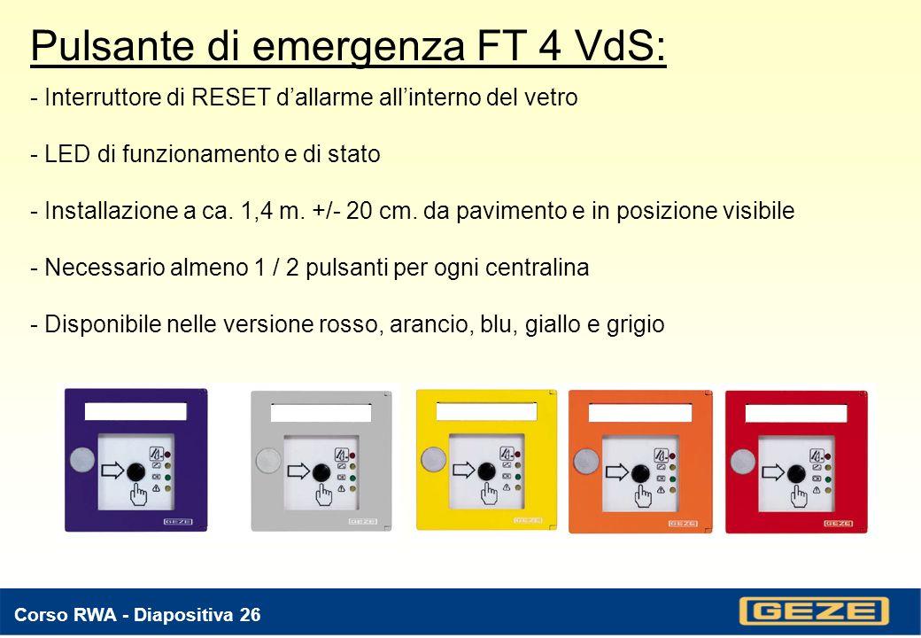 Corso RWA - Diapositiva 25 Rivelatore di calore Typ 258: - Principio di funzionamento: aumento della temperatura e suo valore limite - Grado di protezione: IP 22 - Dimensioni: 32 mm.