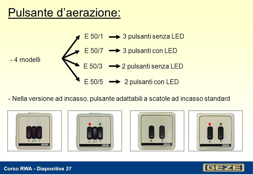 Corso RWA - Diapositiva 26 Pulsante di emergenza FT 4 VdS: - Interruttore di RESET dallarme allinterno del vetro - LED di funzionamento e di stato - Installazione a ca.