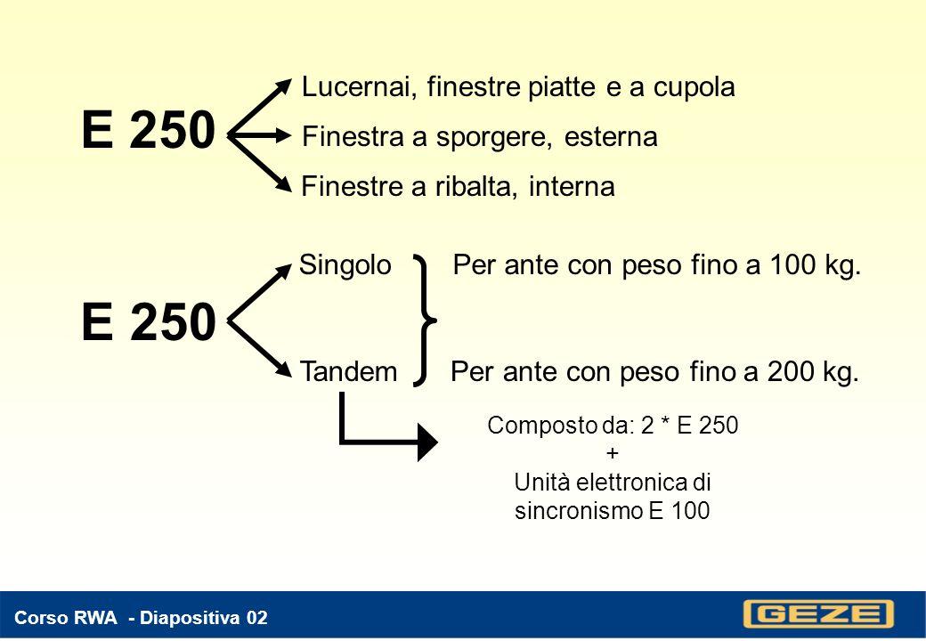 Corso RWA - Diapositiva 22 E 102: unità di sincronismo - Funzione: rende simultanei 2 motori E 250, anche in prossimità della battuta - Utilizzabile solo con attuatori lineare E 250, 24 VDC - Grado di protezione: IP 54 - Tensione di alimentazione compresa tra 16 e 40 VDC - Funzione di limitazione del tempo di apertura regolabile tra 5 e 60 sec.