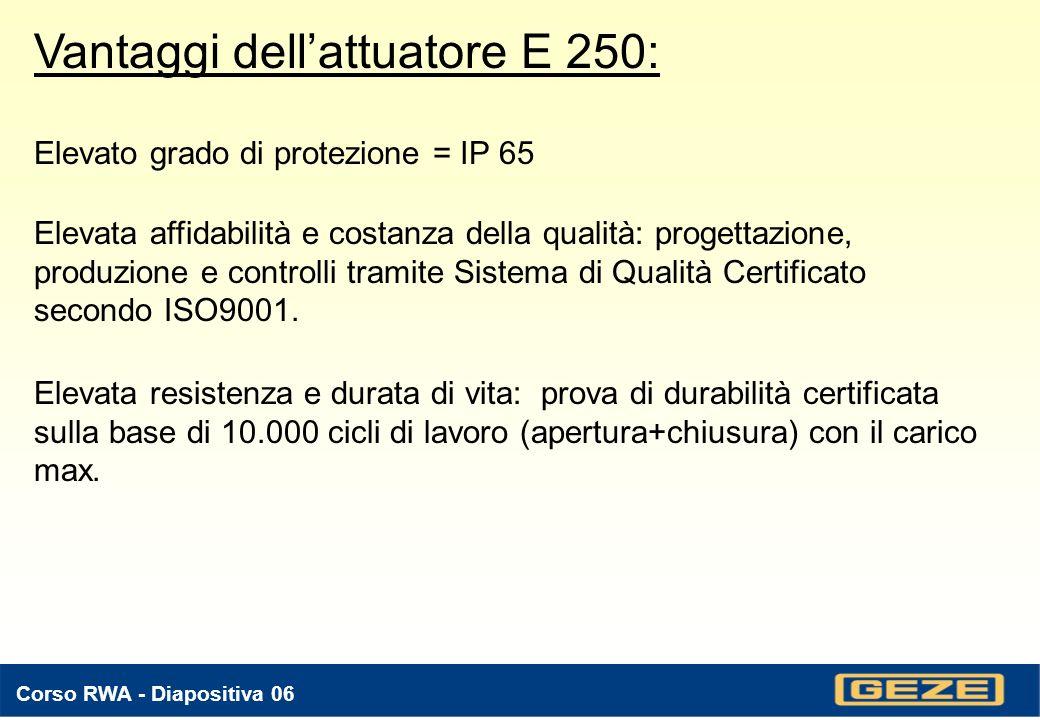 Corso RWA - Diapositiva 06 Vantaggi dellattuatore E 250: Elevato grado di protezione = IP 65 Elevata affidabilità e costanza della qualità: progettazione, produzione e controlli tramite Sistema di Qualità Certificato secondo ISO9001.