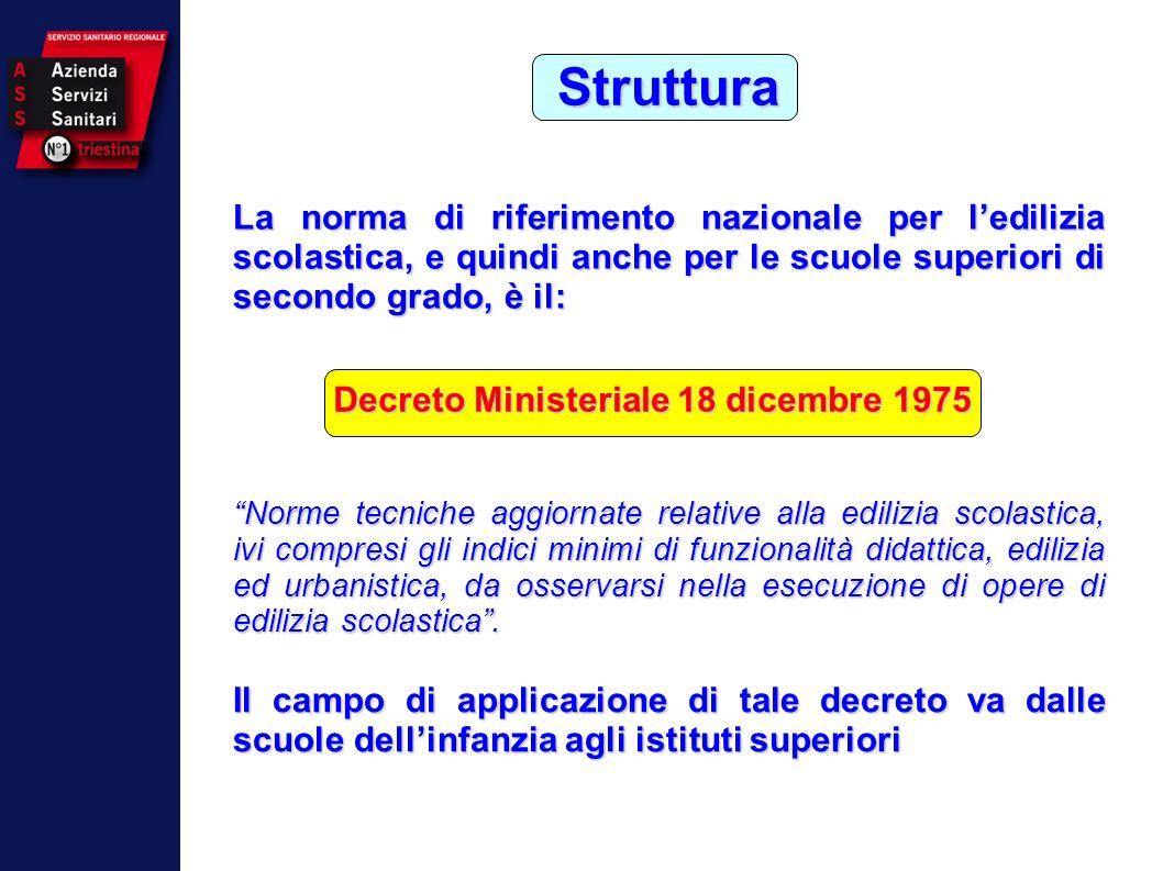 Struttura La norma di riferimento nazionale per ledilizia scolastica, e quindi anche per le scuole superiori di secondo grado, è il: Decreto Ministeri