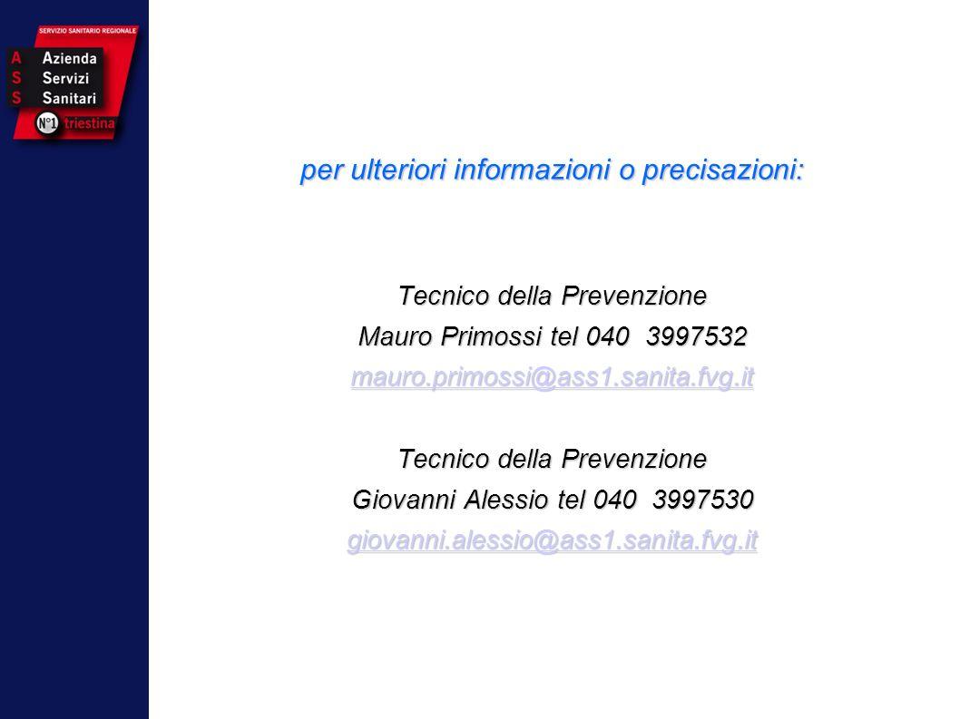 OMS Carta di Ottawa 1986 per ulteriori informazioni o precisazioni: Tecnico della Prevenzione Mauro Primossi tel 040 3997532 mauro.primossi@ass1.sanit