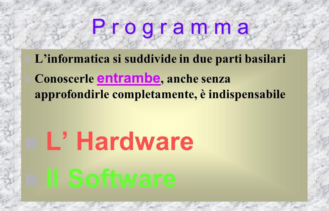 P r o g r a m m a n Linformatica si suddivide in due parti basilari Conoscerle entrambe, anche senza approfondirle completamente, è indispensabile L Hardware Il Software