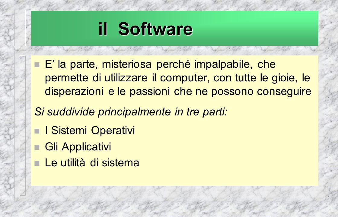 il Software E la parte, misteriosa perché impalpabile, che permette di utilizzare il computer, con tutte le gioie, le disperazioni e le passioni che ne possono conseguire Si suddivide principalmente in tre parti: I Sistemi Operativi Gli Applicativi Le utilità di sistema