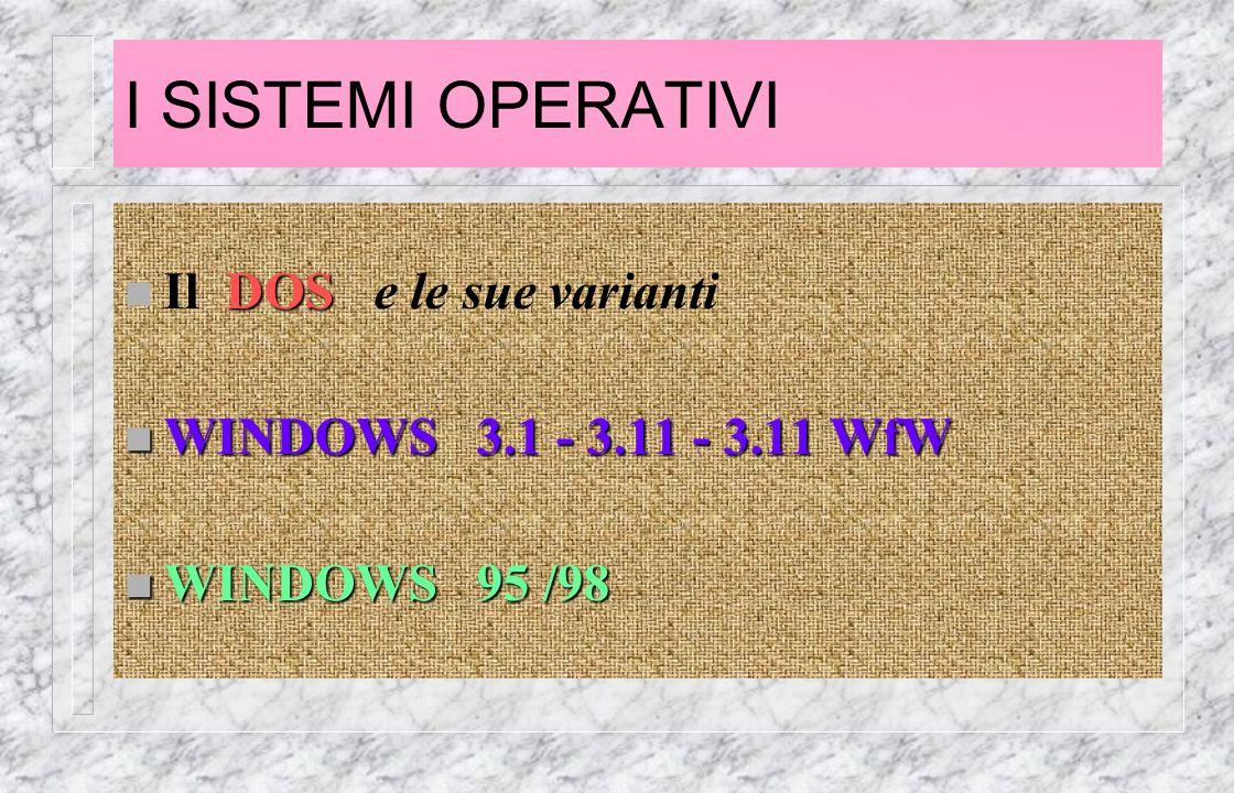 I SISTEMI OPERATIVI DOS n Il DOS e le sue varianti n WINDOWS 3.1 - 3.11 - 3.11 WfW n WINDOWS 95 /98