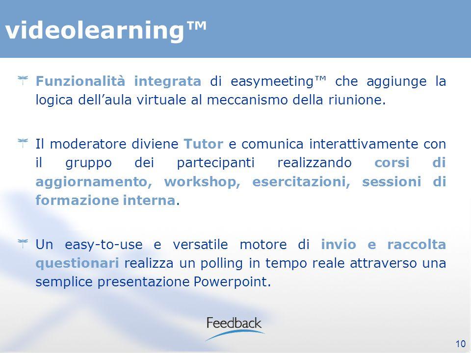 10 videolearning Funzionalità integrata di easymeeting che aggiunge la logica dellaula virtuale al meccanismo della riunione.