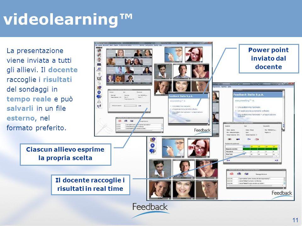 11 videolearning Il docente raccoglie i risultati in real time La presentazione viene inviata a tutti gli allievi.
