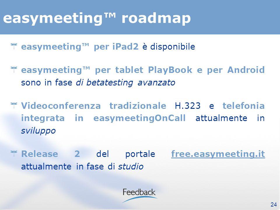 easymeeting roadmap easymeeting per iPad2 è disponibile easymeeting per tablet PlayBook e per Android sono in fase di betatesting avanzato Videoconferenza tradizionale H.323 e telefonia integrata in easymeetingOnCall attualmente in sviluppo Release 2 del portale free.easymeeting.it attualmente in fase di studio 24