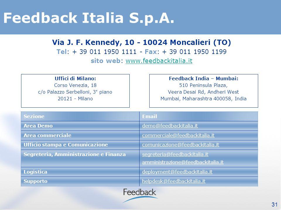 31 Feedback Italia S.p.A. Via J. F.