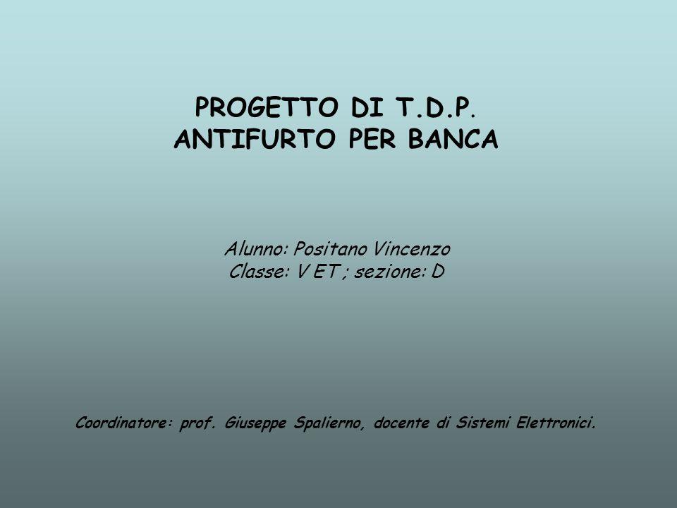 PROGETTO DI T.D.P. ANTIFURTO PER BANCA Alunno: Positano Vincenzo Classe: V ET ; sezione: D Coordinatore: prof. Giuseppe Spalierno, docente di Sistemi