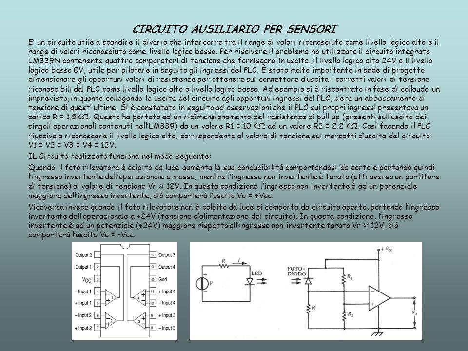 CIRCUITO AUSILIARIO PER SENSORI E un circuito utile a scandire il divario che intercorre tra il range di valori riconosciuto come livello logico alto