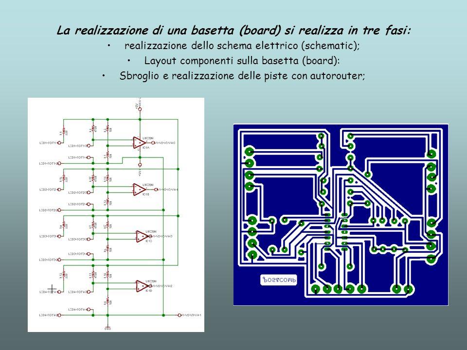 La realizzazione di una basetta (board) si realizza in tre fasi: realizzazione dello schema elettrico (schematic); Layout componenti sulla basetta (bo