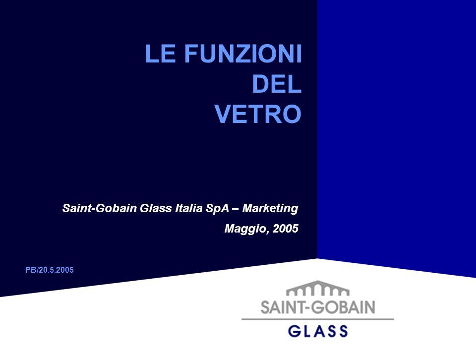 LE FUNZIONI DEL VETRO Saint-Gobain Glass Italia SpA – Marketing Maggio, 2005 PB/20.5.2005