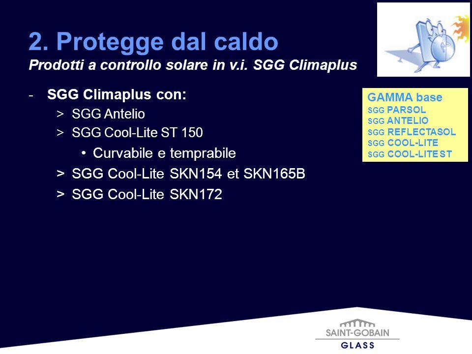 -SGG Climaplus con: >SGG Antelio >SGG Cool-Lite ST 150 Curvabile e temprabile >SGG Cool-Lite SKN154 et SKN165B >SGG Cool-Lite SKN172 2. Protegge dal c