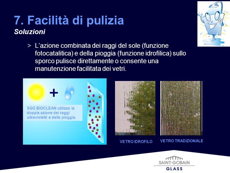 >Lazione combinata dei raggi del sole (funzione fotocatalitica) e della pioggia (funzione idrofilica) sullo sporco pulisce direttamente o consente una