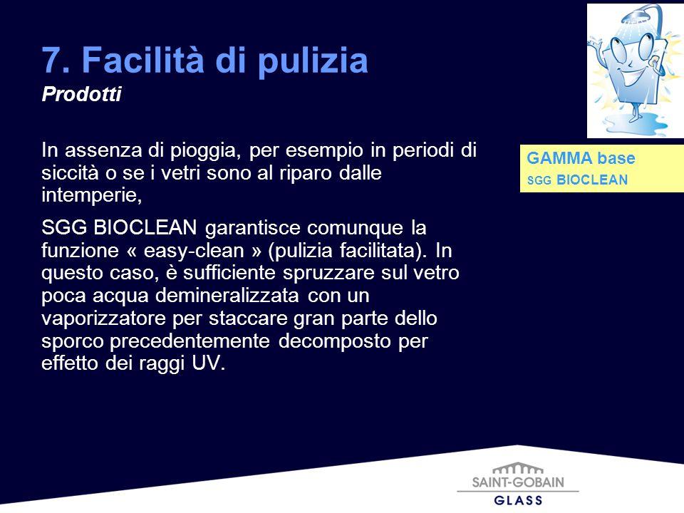 7. Facilità di pulizia Prodotti In assenza di pioggia, per esempio in periodi di siccità o se i vetri sono al riparo dalle intemperie, SGG BIOCLEAN ga