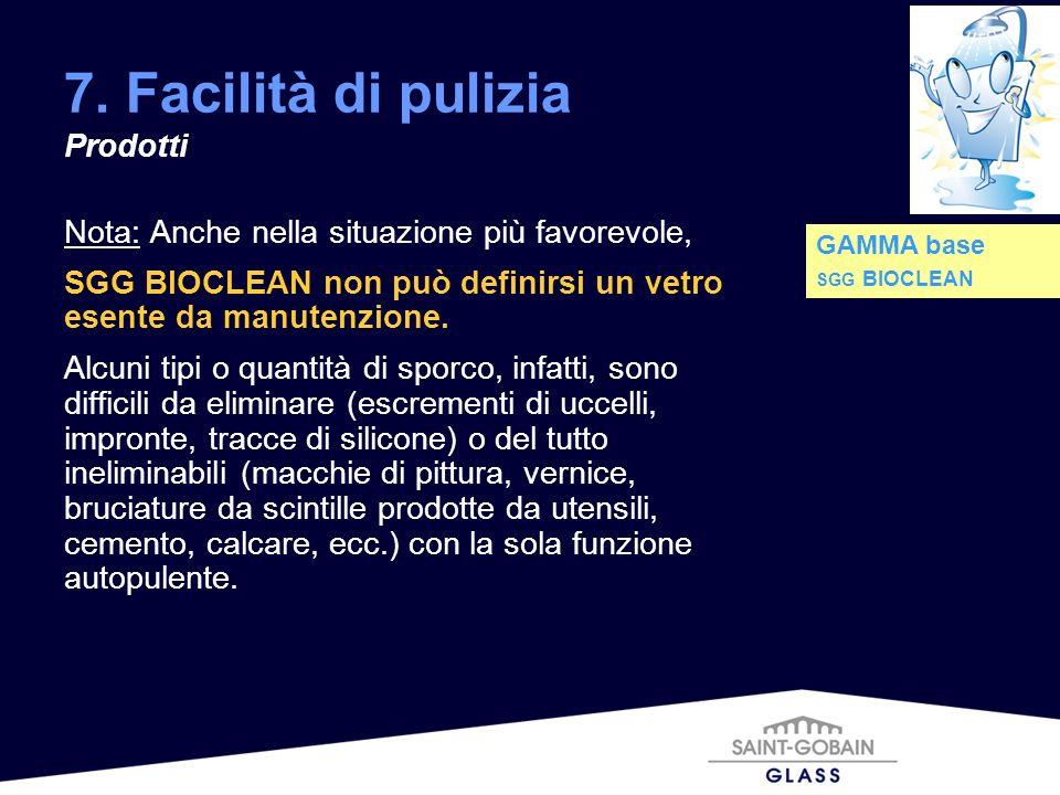 7. Facilità di pulizia Prodotti Nota: Anche nella situazione più favorevole, SGG BIOCLEAN non può definirsi un vetro esente da manutenzione. Alcuni ti