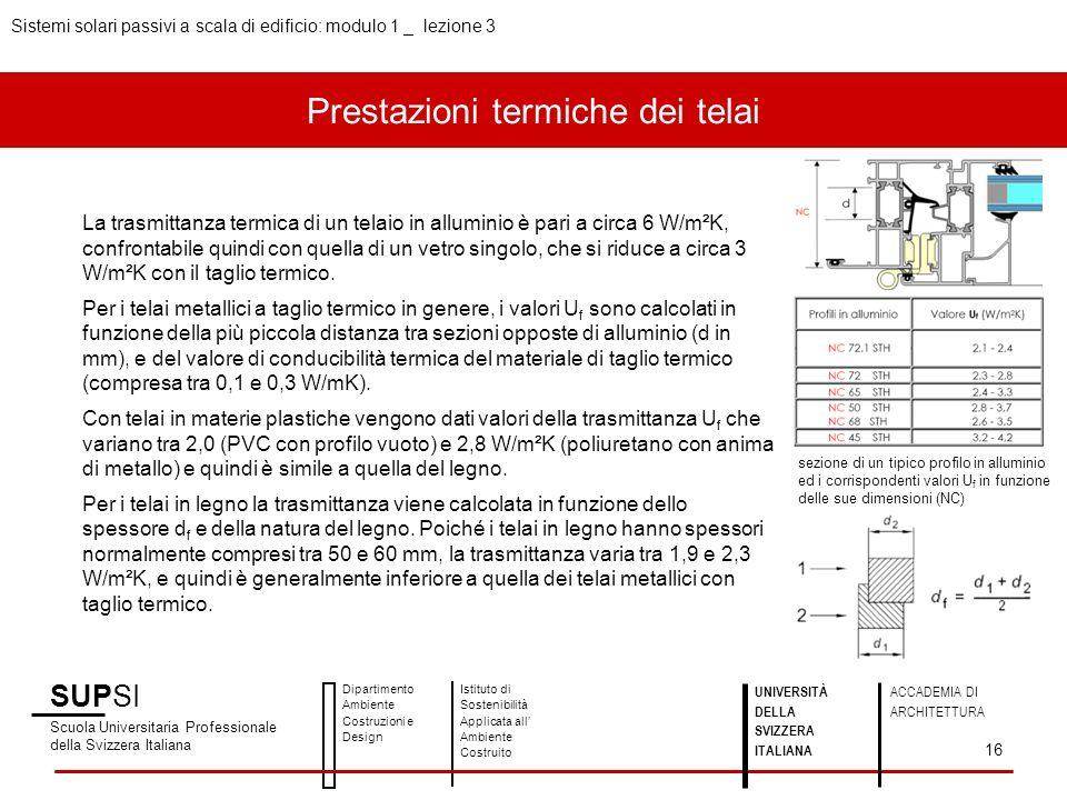 Prestazioni termiche dei telai Sistemi solari passivi a scala di edificio: modulo 1 _ lezione 3 SUPSI Scuola Universitaria Professionale della Svizzera Italiana Dipartimento Ambiente Costruzioni e Design Istituto di Sostenibilità Applicata all Ambiente Costruito 16 UNIVERSITÀ DELLA SVIZZERA ITALIANA ACCADEMIA DI ARCHITETTURA La trasmittanza termica di un telaio in alluminio è pari a circa 6 W/m²K, confrontabile quindi con quella di un vetro singolo, che si riduce a circa 3 W/m²K con il taglio termico.
