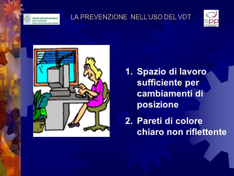 LA PREVENZIONE NELLUSO DEL VDT 1.Spazio di lavoro sufficiente per cambiamenti di posizione 2.Pareti di colore chiaro non riflettente