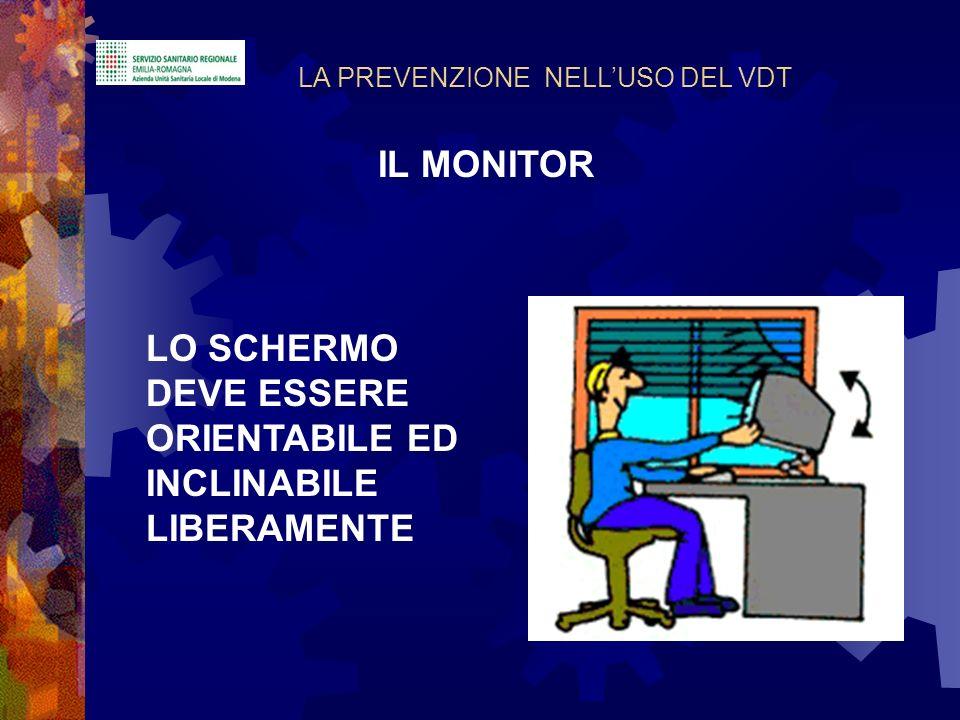 LO SCHERMO DEVE ESSERE ORIENTABILE ED INCLINABILE LIBERAMENTE LA PREVENZIONE NELLUSO DEL VDT IL MONITOR