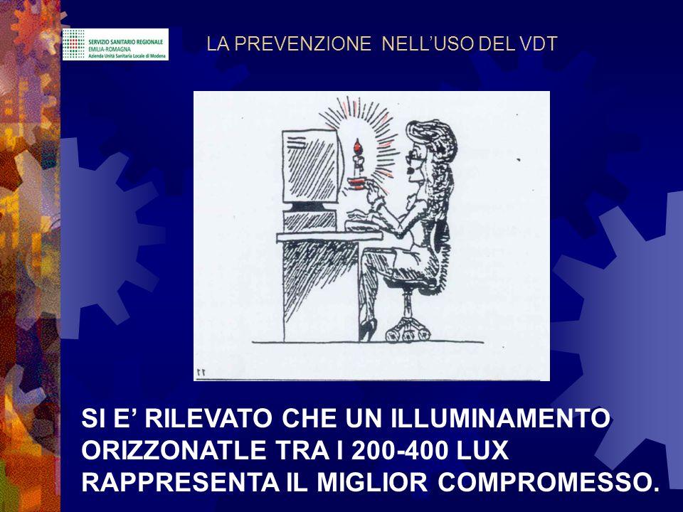 LA PREVENZIONE NELLUSO DEL VDT SI E RILEVATO CHE UN ILLUMINAMENTO ORIZZONATLE TRA I 200-400 LUX RAPPRESENTA IL MIGLIOR COMPROMESSO.