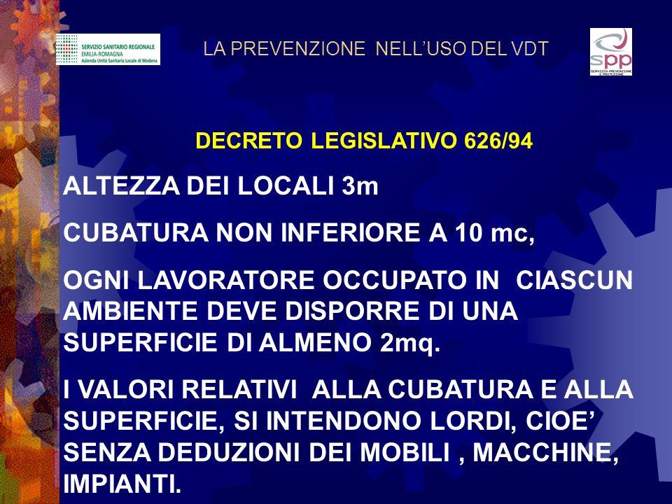LA PREVENZIONE NELLUSO DEL VDT DECRETO LEGISLATIVO 626/94 ALTEZZA DEI LOCALI 3m CUBATURA NON INFERIORE A 10 mc, OGNI LAVORATORE OCCUPATO IN CIASCUN AM