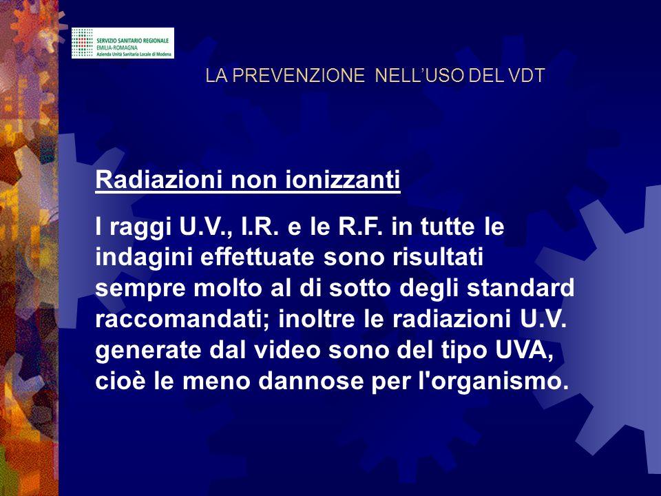 Radiazioni non ionizzanti I raggi U.V., I.R. e le R.F. in tutte le indagini effettuate sono risultati sempre molto al di sotto degli standard raccoman