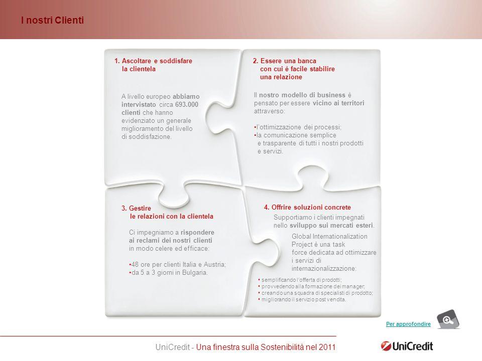 UniCredit - Una finestra sulla Sostenibilità nel 2011 3.